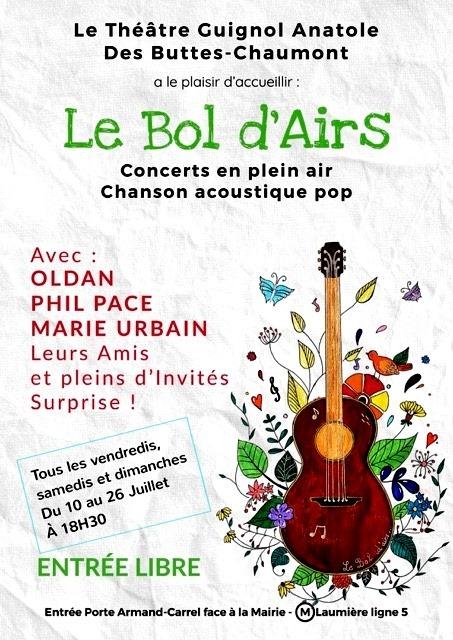 Affiche festival Le Bol d'Airs aux Buttes Chaumont.